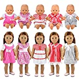 Miunana 5 PCS Fashion Clothes Dresses For Baby Dolls, For New Born Baby Dolls, For American Girl Dolls, Our Generation and Other 14 - 18 Inch Dolls