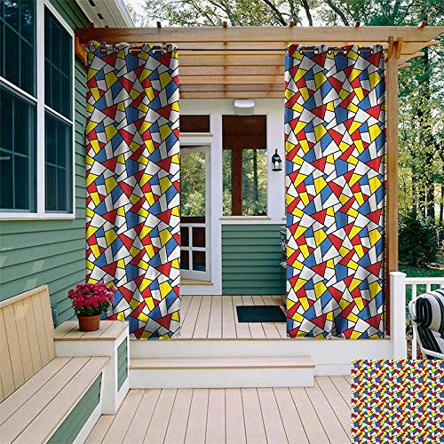 leinuoyi Mosaic, Sun Zero Outdoor Curtains, Geometric Shapes Composition with Colorful Stained Glass Design Grid Illustration, for Pergola W96 x L96 Inch Multicolor