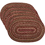 VHC Brands Burgundy Red Primitive Country Tabletop & Kitchen Cider Mill Jute Placemat Set of 6