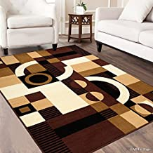 AllStar Rugs Dark Brown Area Rug, Contemporary, Abstract, Traditional, Geometric, Formal, Shapes, Squares. Size: 8x10