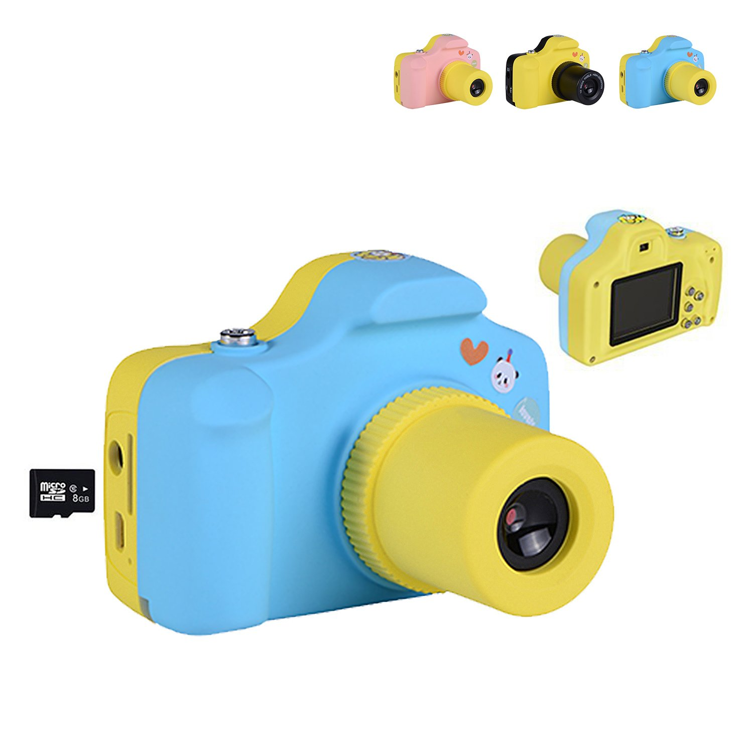 Children Digital Camera Mini 1.5 Inch Screen for Kids 21 Mega Pixels HD Digital Camera Handheld Micro Digital Camcorder Indoor Outdoor for Adults /Seniors / Kids Pink (8GB TF Card Included) (Blue8)