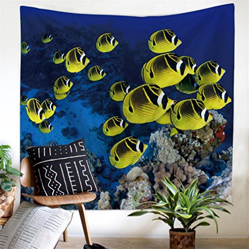 (Ameyahud Wall Tapestry Wall Hanging Wall Tapestry for Bedroom Ocean Underwater World Tapestry Fish Coral Reef Tapestry Psychedelic Bohemian Mandala Tapestry Indian Wall Art for Living Room Dorm Decor)