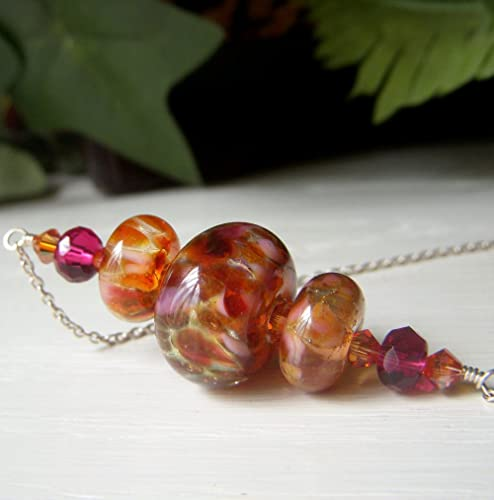 4a73aa434 Amazon.com: Sunset Lampwork Necklace Sterling Silver, Autumn Colors ...