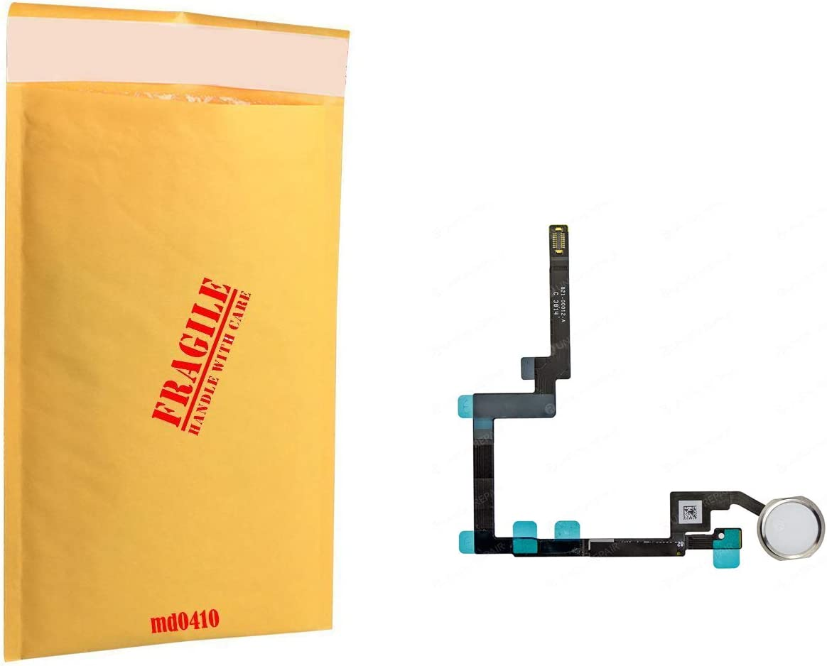 (md0410) White Home Button Flex Ribbon Cable Silver Ring Replacement Part Compatible with Ipad Mini 3 A1599 A1600