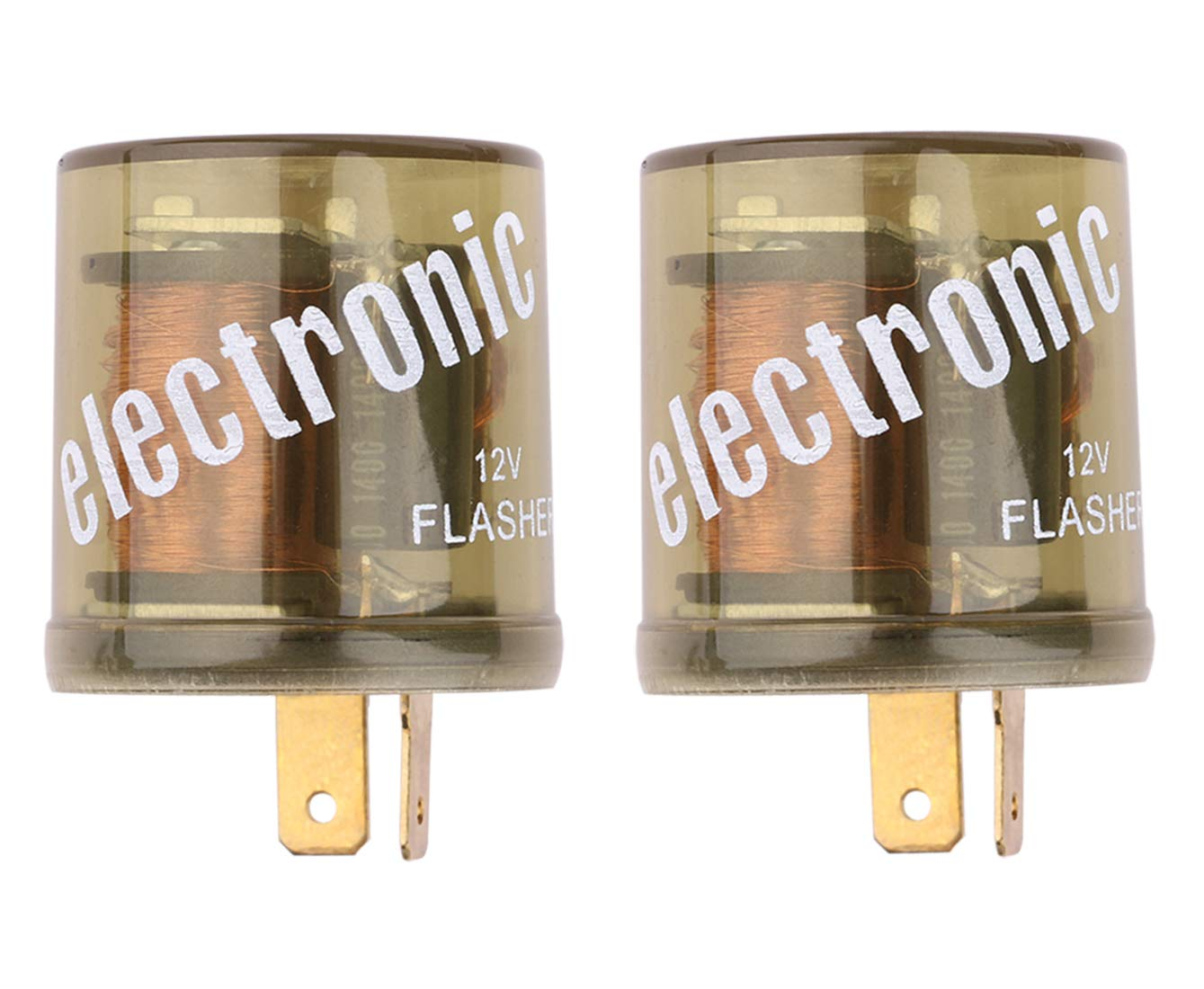 Electronic Flasher Relay, Sdootauto Heavy Duty Turn Signal Flasher Relay 2 Pin 12V LED Compatible for Motors Turn Signal & Hazard Warning- 2 Pack