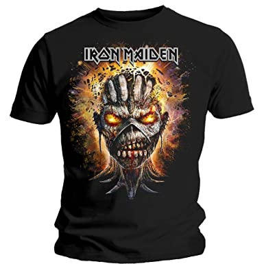 Iron Maiden Eddie Book of Souls Bomb Head Oficial Camiseta para Hombre (Medium)