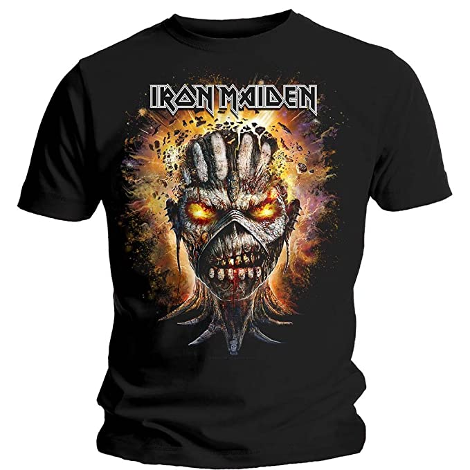 Iron Maiden Eddie Book of Souls Bomb Head Oficial Camiseta para Hombre (Small)