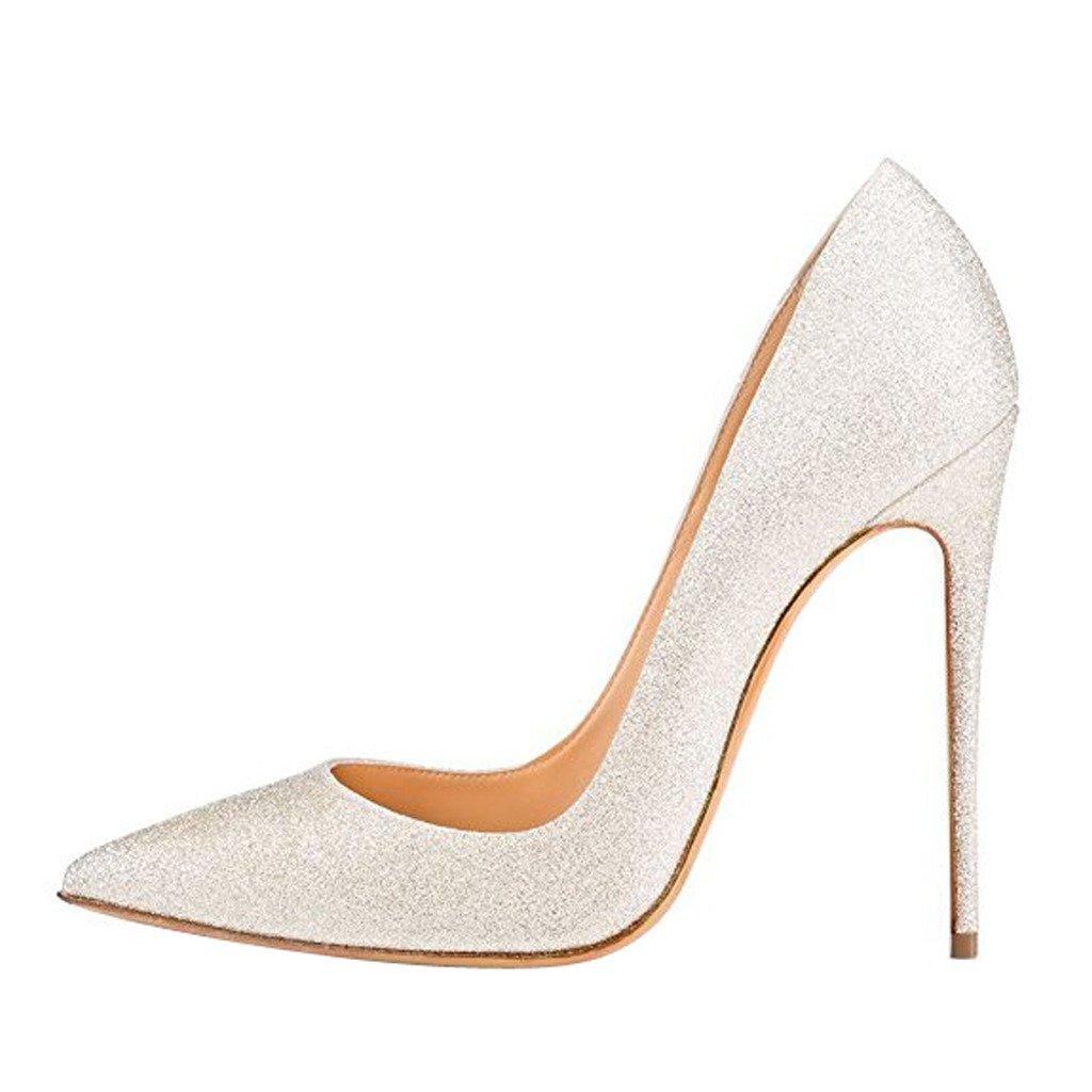 Jushee Damen Sexy Klassische Schwarz Stiletto High Heels Kleid Buuml;ro Pumps44 EU|Silber02