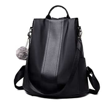running shoes super cheap compares to latest Women Backpack, hirsrian Ladies Shoulder School Bag PU Leather Anti-theft  Waterproof Rucksack (Black)