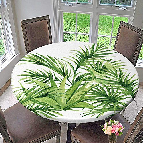 (PINAFORE HOME Round Tablecloths Horizontal Tropical Green plantsset with Palm Leaves or Everyday Dinner, Parties 43.5