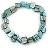 Light Blue Shell Nugget Stretch Bracelet - 17cm L