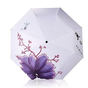 lisa Creativo sombrilla paraguas plegable paraguas negro vinilo UV paraguas, Flores y flores,soltero