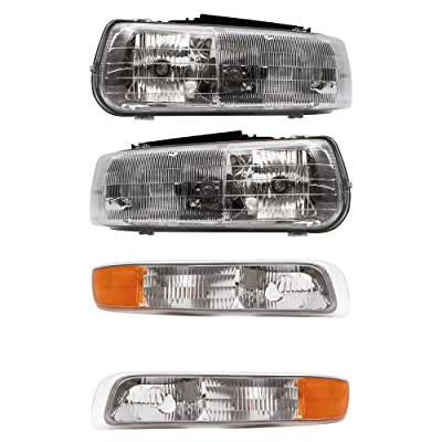 Aftermarket Replacement 4 Pc Set Headlights & Side Signal Marker Lamps Compatible with 2000-2006 Tahoe Suburban 1999-2002 Silverado Pickup Truck: Automotive