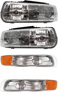 Replacement 4 Pc Set Headlights & Side Signal Marker Lamps Compatible with 2000-2006 Tahoe Suburban 1999-2002 Silverado Pickup Truck
