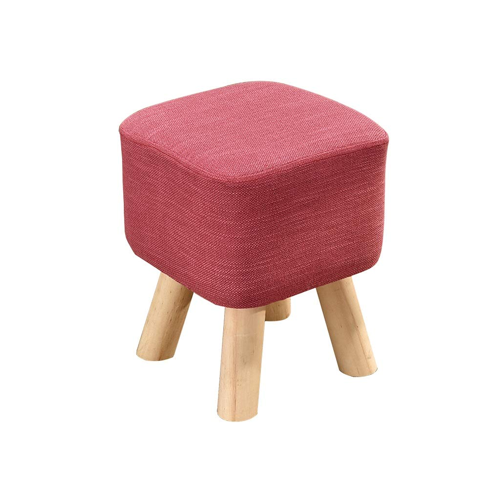 pink Red WHYDIANPU Stool solid wood stool living room change shoes stool fashion fabric sofa bench bench (color   pink red)