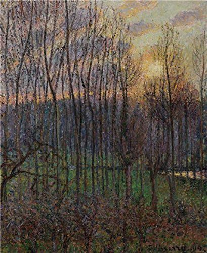 High Quality Polyster Canvas ,the Reproductions Art Decorative Prints On Canvas Of Oil Painting 'Camille Pissarro,Poplars,Sunset At Eragny,1894', 30x37 Inch / 76x93 Cm Is Best For Bar Gallery Art And Home Decoration And Gifts ()
