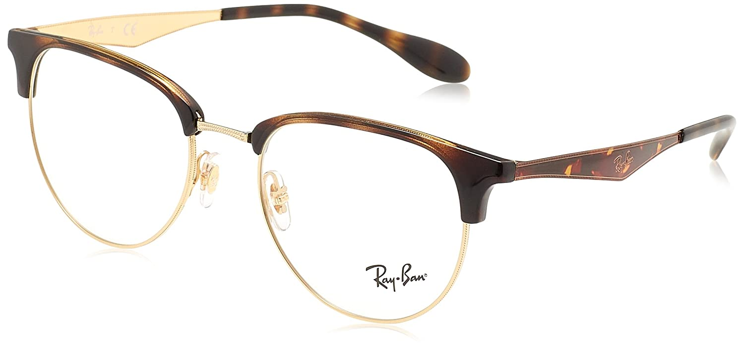23d9f46549 Amazon.com  Ray-Ban Men s 0rx6396 No Polarization Square Prescription  Eyewear Frame Black Gold 53 mm  Clothing