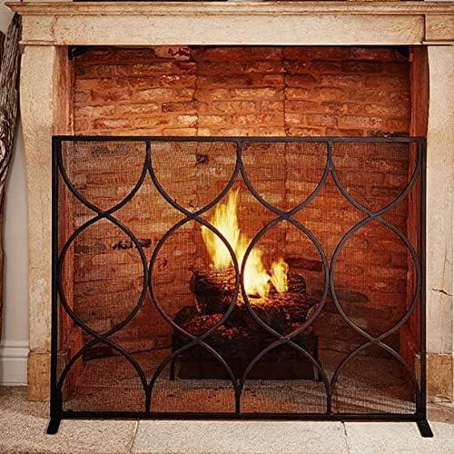 暖炉 スクリーン 暖炉用錬鉄メッシュ、赤ちゃんの安全、44x33インチとブラックシングルパネル火災ガード/スパークガードスクリーン
