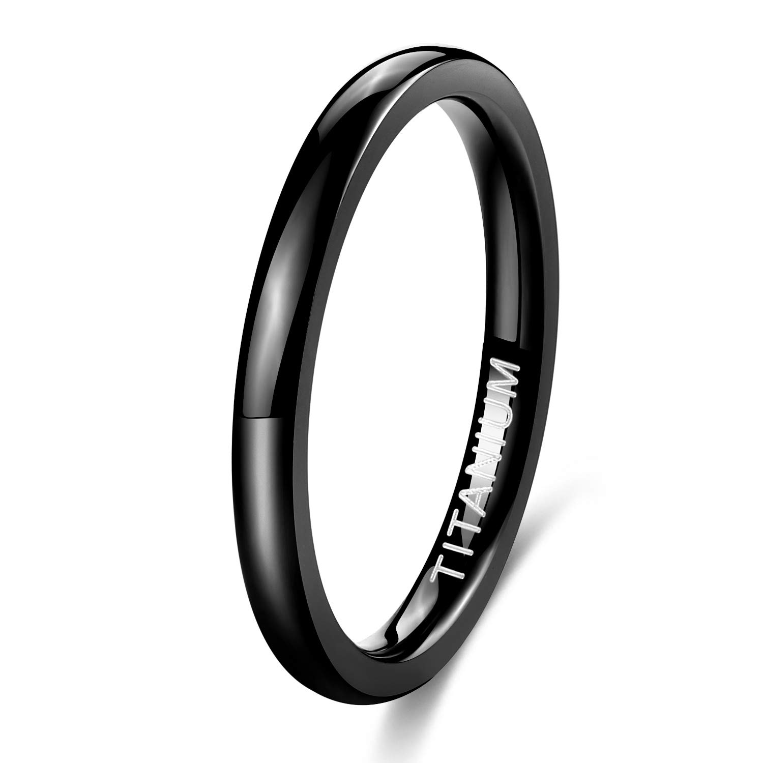 TIGRADE Black Titanium Ring 2mm 4mm 6mm 8mm Dome High Polished Wedding Band Size 4-15