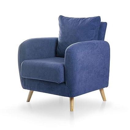 SuenosZzz- Sillon CIES butacas para Dormitorio Nórdica. Sillón tapizado Acualine Antimanchas, Color Azul Rio 15. Nordica Individual de una Plaza, ...
