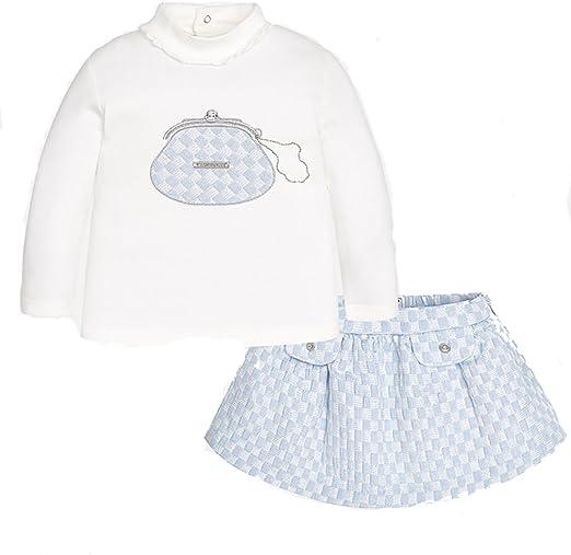 Mayoral - Falda - para bebé niña blanco y celeste 9 Meses: Amazon ...