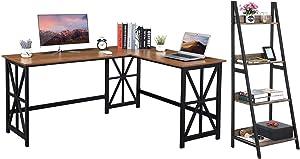 GreenForest L Shaped Desk and Ladder Shelf Bundle, Industrial Style Home Office Furniture Set, Walnut