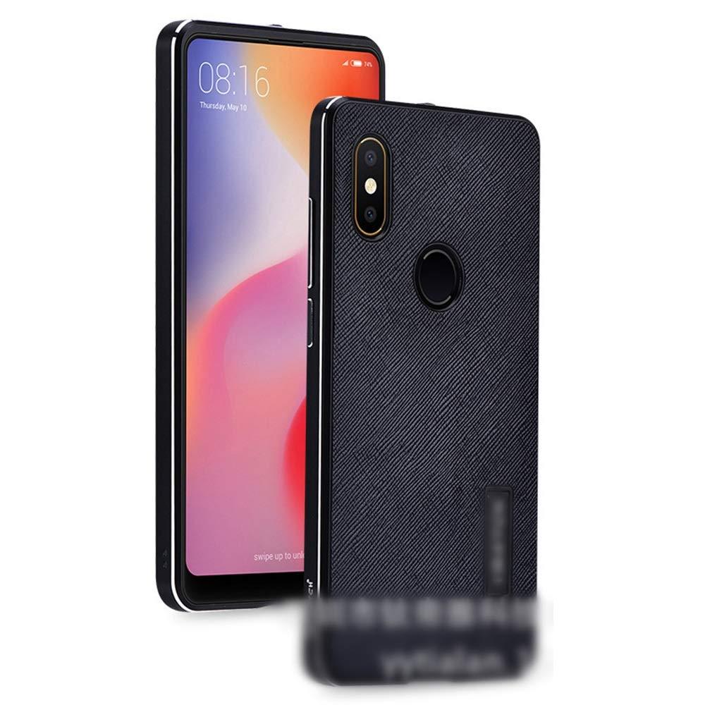 ACHAOHUIXI Xiaomi Mix2s、mix2、mix用の新しいメタル レザー ケース ハイエンド携帯電話シェル飛散防止保護コーブ電話ケース (Color : 黒, Edition : Mix2s)
