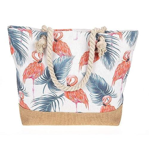 Lilyrosa BagDamen Beach Braun Tote Tasche Flamingo Taupe WED29HI