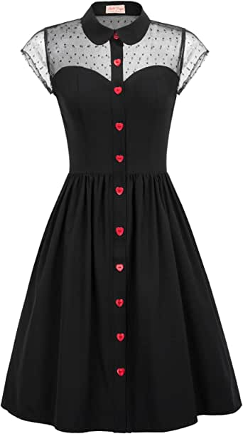 Belle Poque Women's 1950s Polka Dots Vintage Swing Dresses with Pockets