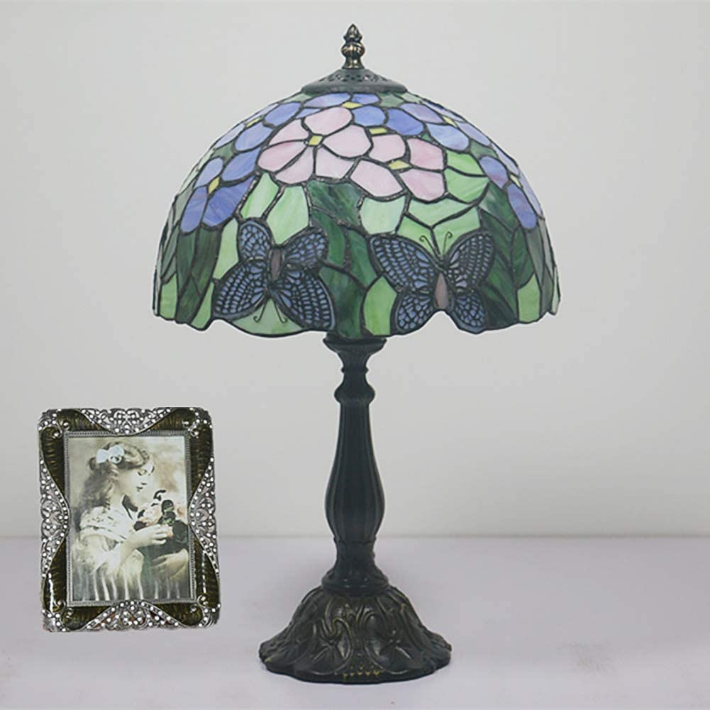 Blue Butterfly Tiffany Style Table lamp, E11 lamp Holder Light