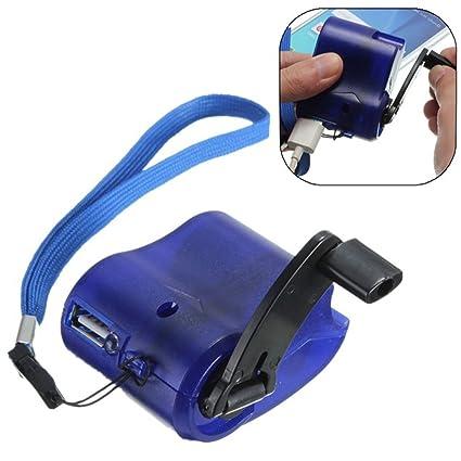 Cargador de manivela portátil, cambiador de dinamo de emergencia portátil, cargador USB para teléfono móvil, MP4, cargador de viaje, color azul