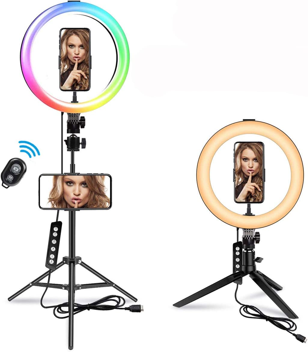 """10.2"""" RGB Selfie Ring Light with 70'' Stand, MACTREM 14 Colors RGB LED Ring Light with 2 Tripod Stands & Phone Holders, 10 Brightness Level, Camera Remote Shutter for Makeup YouTube Video Photography"""