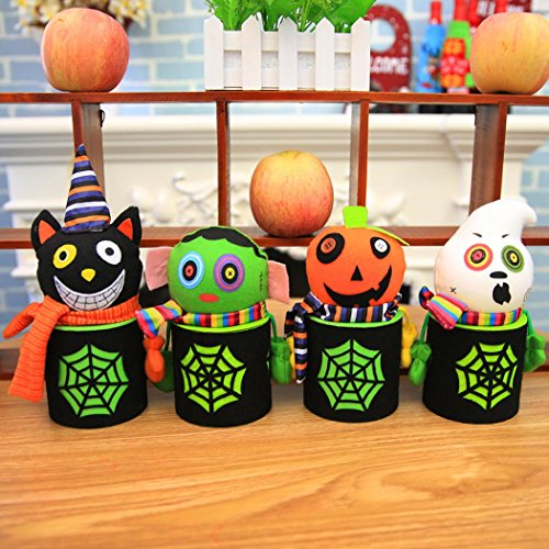 Coxeer Halloween Candy Jars, 4Pcs Children Party Gift Trick or Treat Doll Candy Storage -