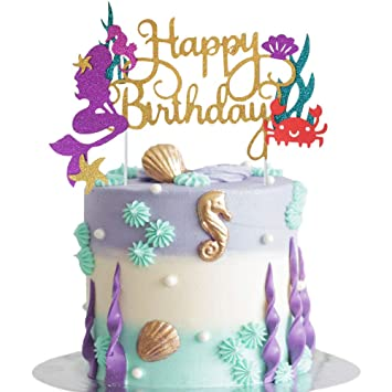 Bestus Mermaid Cake Topper | Happy Birthday Cake Decoration for