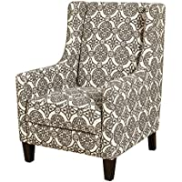 Target Marketing Systems Clara Collection Classic Accent Fabric Upholstered Wing Chair With Wooden Legs, Brown Print Pattern