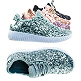 Link Remy18k Silver Lace up Rock Glitter Fashion Sneaker For Children/Girl/Kids -1