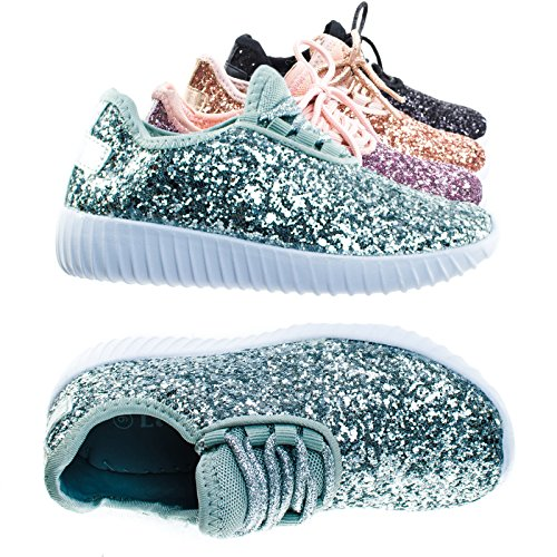 Remy18k Silver Lace up Rock Glitter Fashion Sneaker For Children / Girl / Kids -13 - Sparkle Shoes