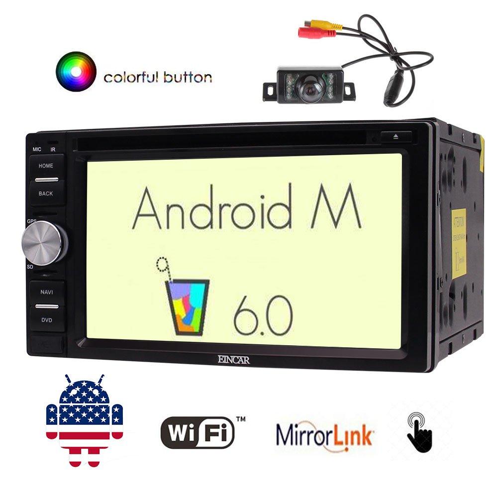 EinCar 6.2「」のAndroid 6.0システムダブル2ディンとカーDVDプレーヤーダッシュカービデオオーディオラジオでのハンズフリーのBluetooth外部マイク無線LAN Morrorリンク+バックアップカメラ B074CC7YWK