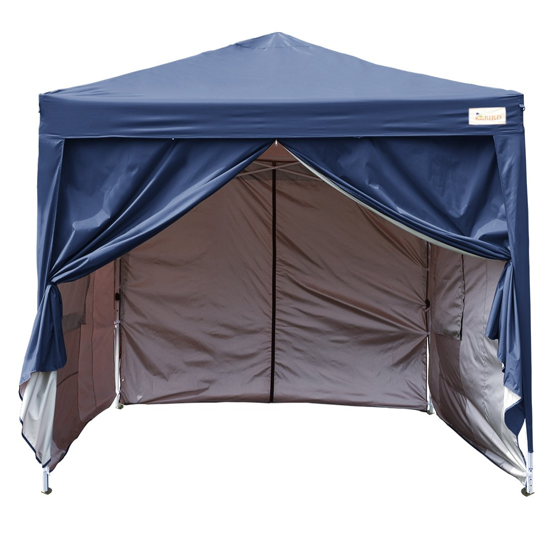 Kingbird 10 x 10 ft Easy Pop up Canopy Waterproof Party Tent 4 Removable Walls Mesh Windows with Carry Bag-7 Colors (navy blue)
