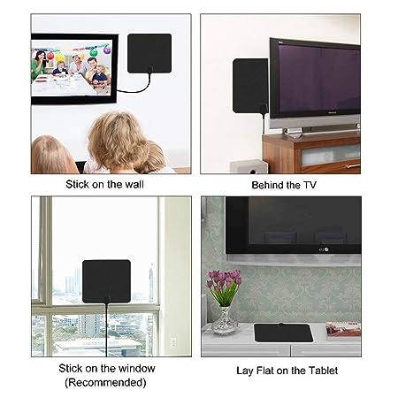 Antena de TV, TELEV Antena Interior HDTV de Rango Amplificado de 65 Millas con Amplificador de Señal Desmontable y Cable Coaxial DE 16.5 Pies Negro: ...