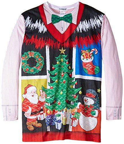 Faux Real Men's Big-Tall Ugly Noel X-Mas Vest Long Sleeve T-Shirt, Multi, (Big And Tall Christmas Sweaters)