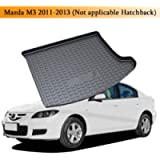 Psler Vehicle Rear Cargo Liner Trunk Tray Floor Mat for Mazda M3 2011-2013(Not applicable Hatchback Edition )