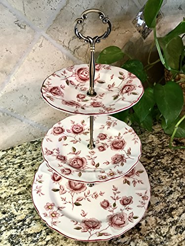 Three Tier Stand, Cake Stand, Dessert Stand, Cup Cake Stand, Jewelry Stand, Vanity Tray, Appetizer, Tidbit, Center Piece, Rose