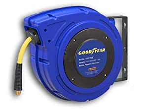Goodyear 27527153G Enclosed Retractable Air Compressor/Water Hose Reel with 3/8 in. x 50 ft. Hybrid Polymer Hose, Max. 300PSI