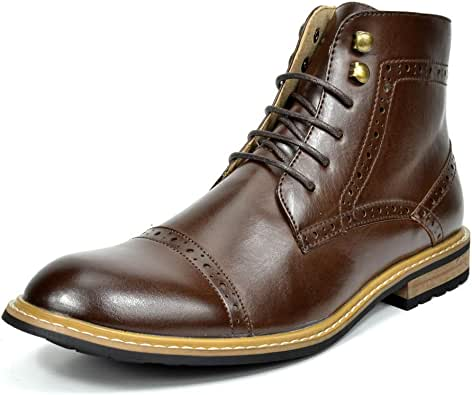 Bruno Marc Men's Dress Ankle Motorcycle Boots Leather Lined Derby Oxfords Bergen-03 Dark Brown 6.5 M US