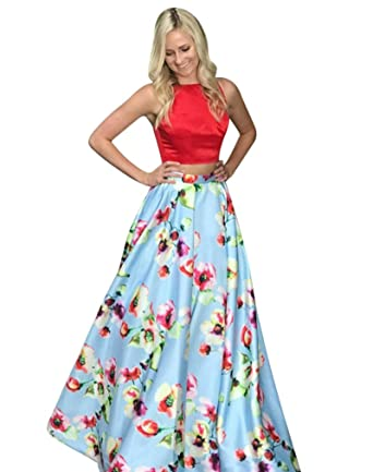 XJLY Elegant Spaghetti Straps 2 Piece Floral Printed Satin Prom Dress with Pocket at Amazon Womens Clothing store: