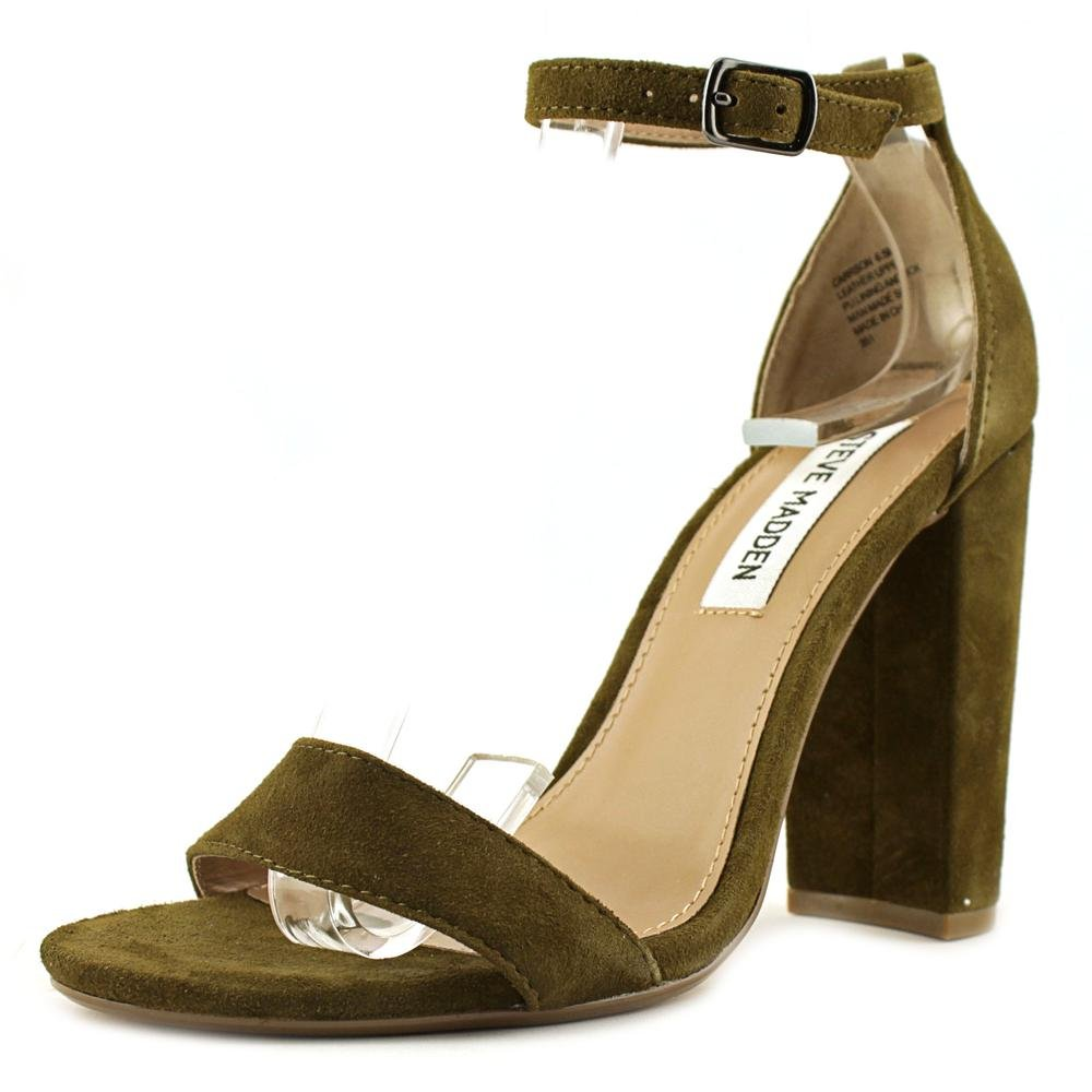 Steve Madden Women's Carrson Dress Sandal, Olive Suede, 8 M US by Steve Madden