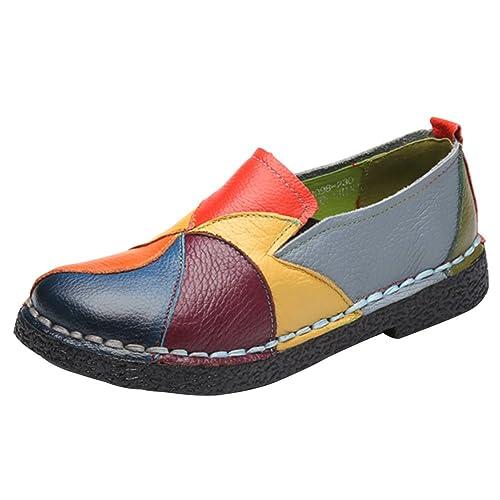 Wealsex Mocasín Zapatos de Mujer Bloque De Color Mocasín Casual De PU Cuero Para Mujer Zapatos Planos de Deslizamiento Mocasines de Conducción Zapatillas: ...