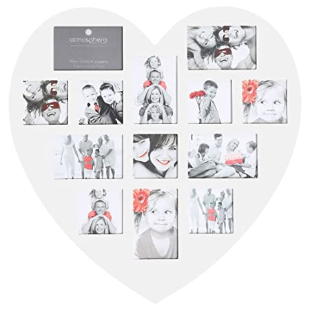 White Heart Shaped Collage Photo Frame For 13 Photos Amazoncouk