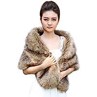 Aukmla Women's Wedding Fur Wraps and Shawls for Women, Bridal Fur Stole